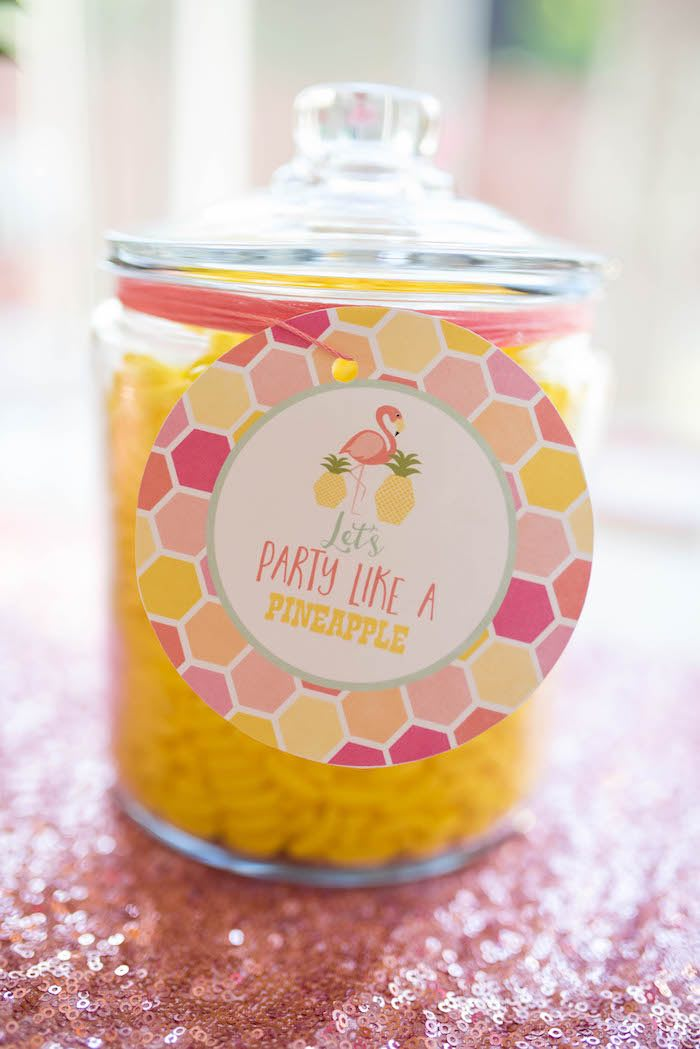 Candy jar from a Flamingo + Flamingle Pineapple Party via Kara's Party Ideas | KarasPartyIdeas.com - The Place for All Things Party! (10)