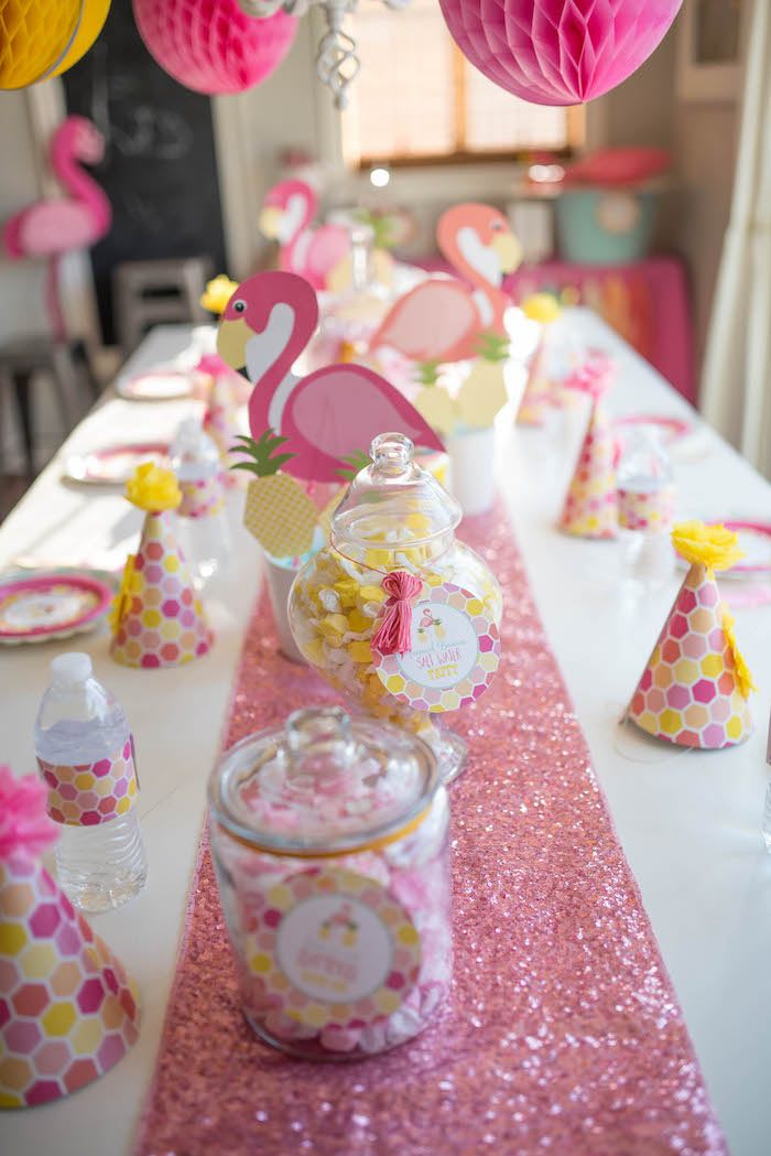 Pink flamingo party table from a Flamingo + Flamingle Pineapple Party via Kara's Party Ideas | KarasPartyIdeas.com - The Place for All Things Party! (9)