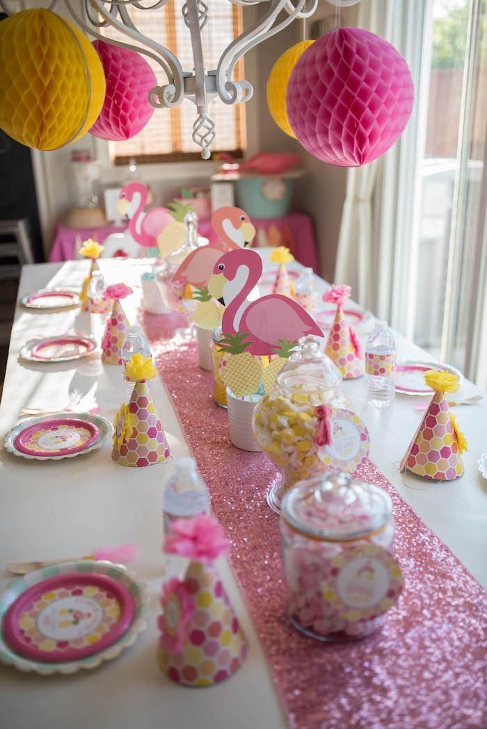 Pink flamingo dining tablescape from a Flamingo + Flamingle Pineapple Party via Kara's Party Ideas | KarasPartyIdeas.com - The Place for All Things Party! (8)