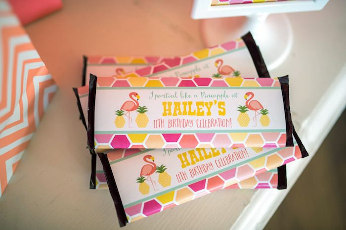 Chocolate bars from a Flamingo + Flamingle Pineapple Party via Kara's Party Ideas | KarasPartyIdeas.com - The Place for All Things Party! (6)