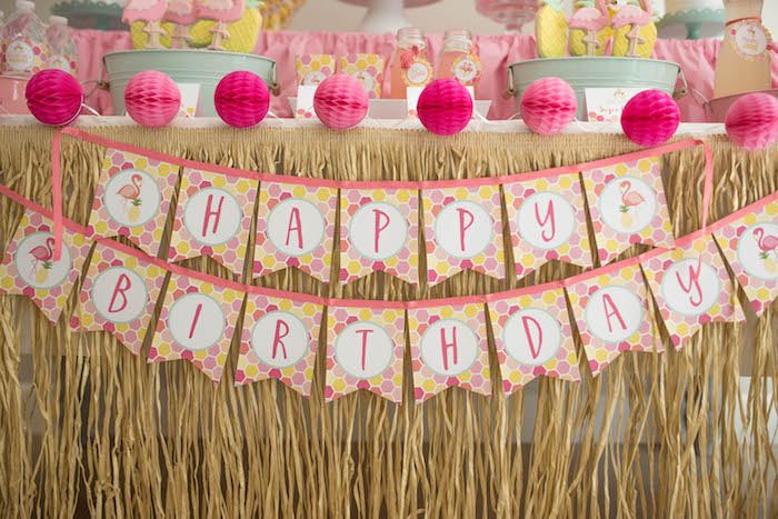 Party banner + bunting from a Flamingo + Flamingle Pineapple Party via Kara's Party Ideas | KarasPartyIdeas.com - The Place for All Things Party! (30)
