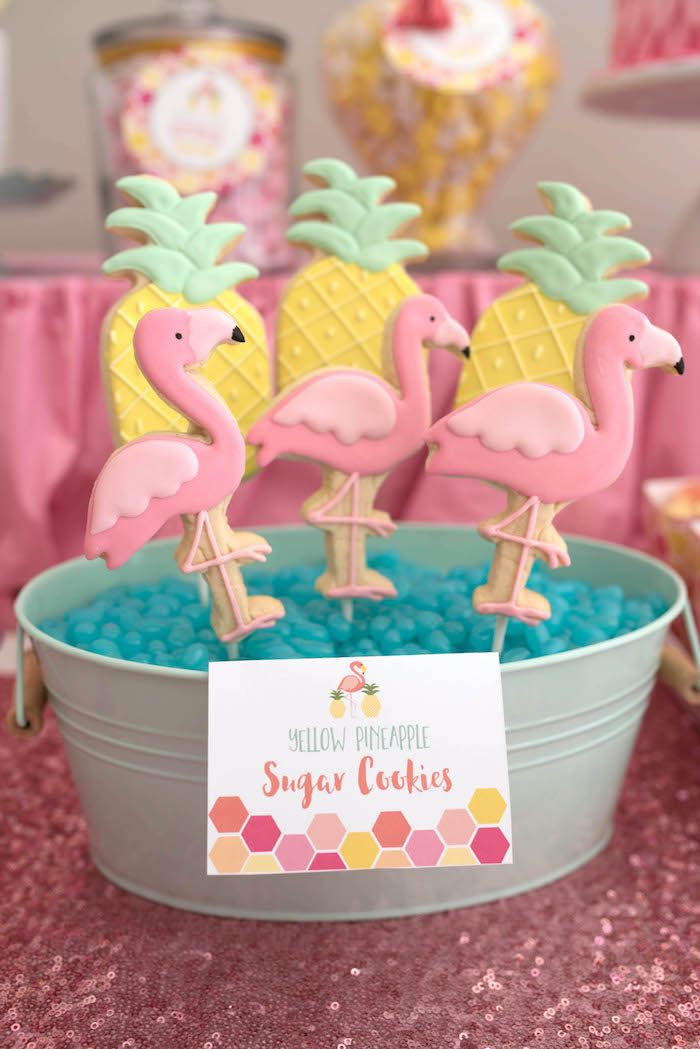 Flamingo & pineapple sugar cookies from a Flamingo + Flamingle Pineapple Party via Kara's Party Ideas | KarasPartyIdeas.com - The Place for All Things Party! (28)