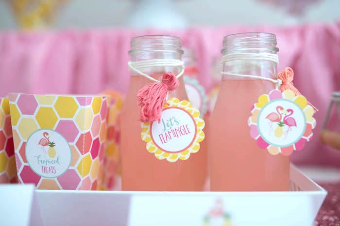Glass drink bottles from a Flamingo + Flamingle Pineapple Party via Kara's Party Ideas | KarasPartyIdeas.com - The Place for All Things Party! (26)