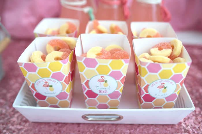 Sweet treats (peach rings) from a Flamingo + Flamingle Pineapple Party via Kara's Party Ideas | KarasPartyIdeas.com - The Place for All Things Party! (25)