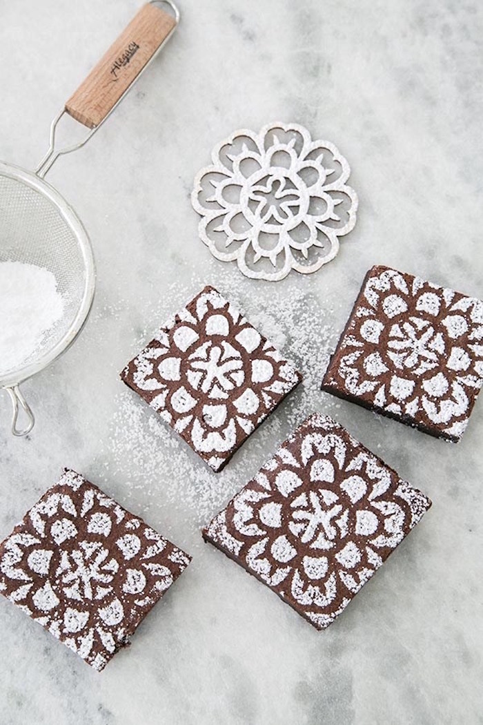 Sugar stenciled brownies from a Floral Mother's Day Brunch via Kara's Party Ideas | KarasPartyIdeas.com (3)