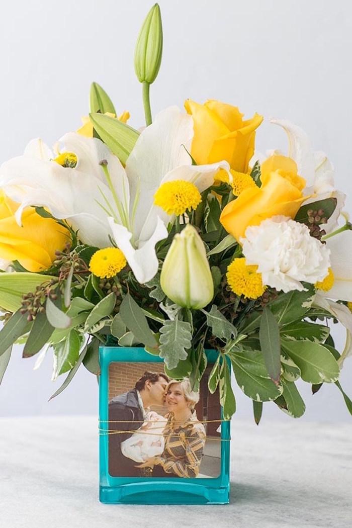 Custom photo floral arrangement from a Floral Mother's Day Brunch via Kara's Party Ideas | KarasPartyIdeas.com (12)
