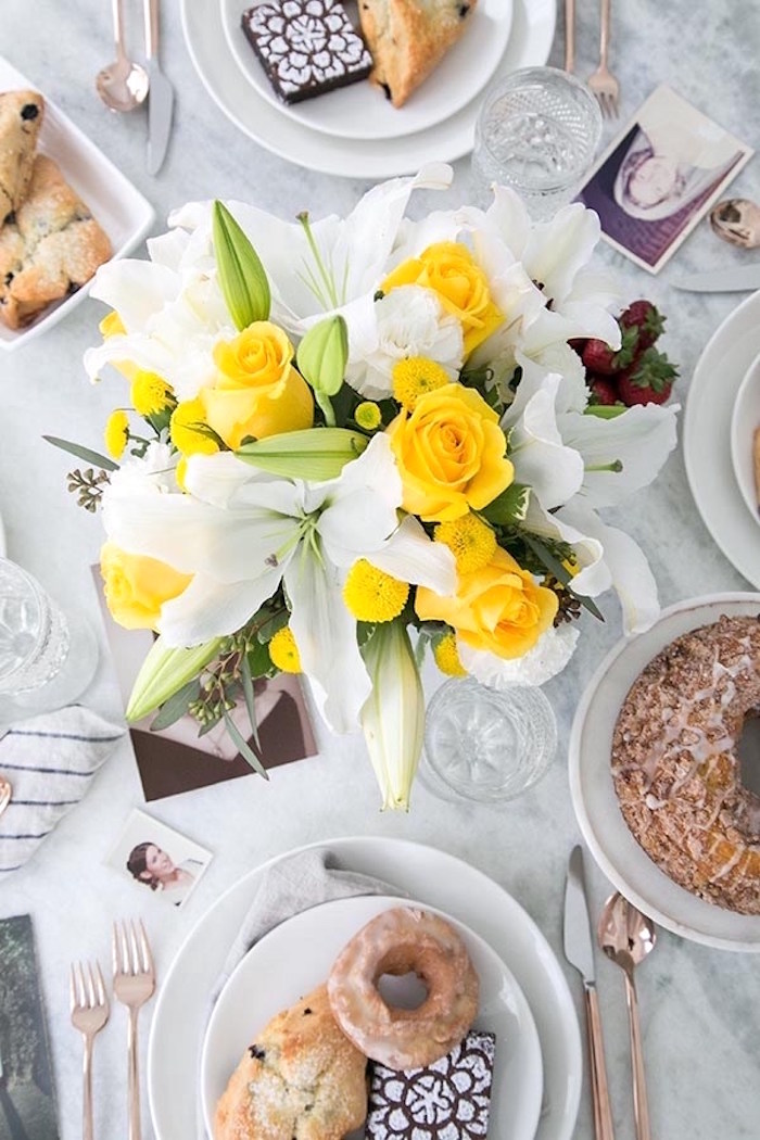 Brunch table from a Floral Mother's Day Brunch via Kara's Party Ideas | KarasPartyIdeas.com (8)
