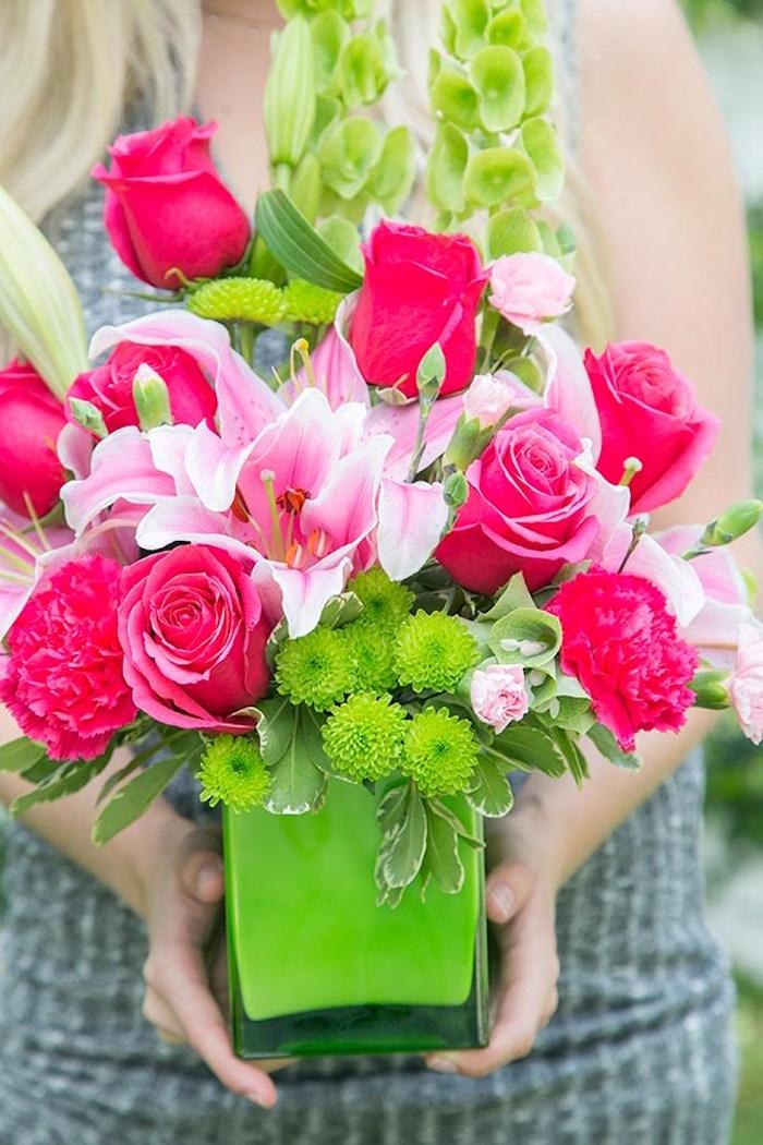 Pink + green floral arrangement from a Floral Mother's Day Brunch via Kara's Party Ideas | KarasPartyIdeas.com (7)