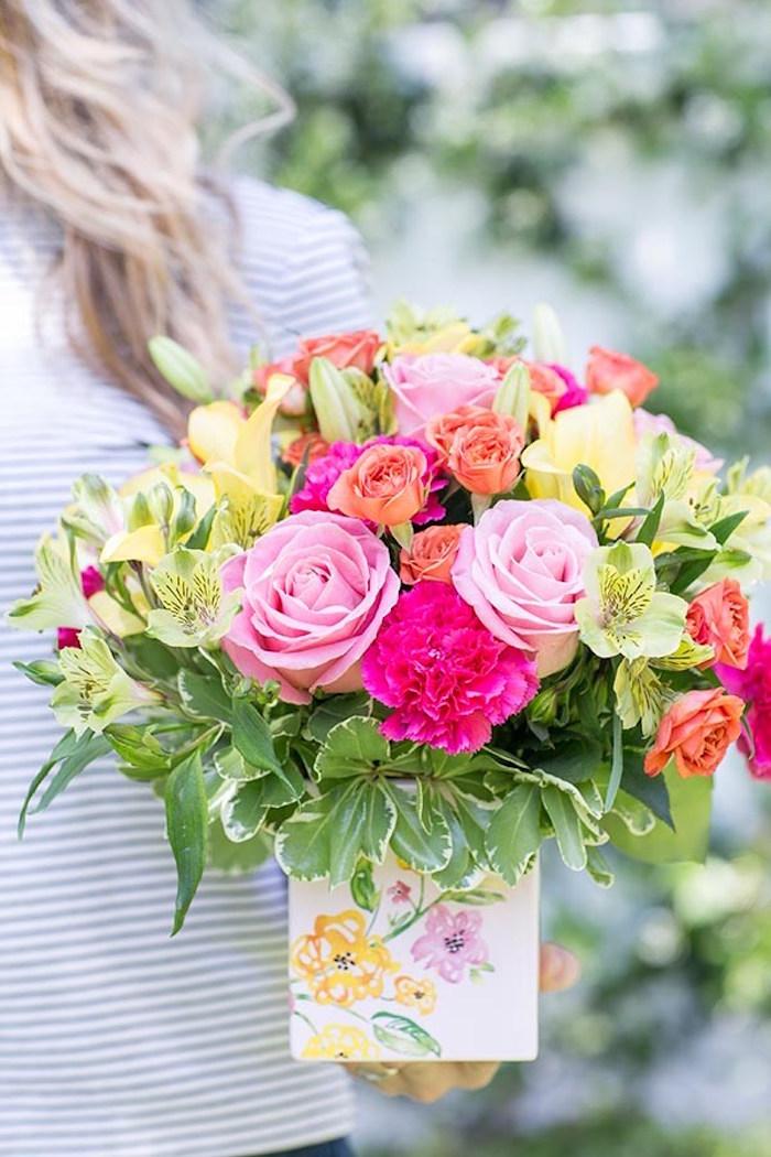 Spring floral arrangement from a Floral Mother's Day Brunch via Kara's Party Ideas | KarasPartyIdeas.com (4)