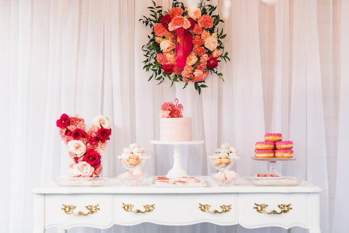 Dessert table from a Florals & Flamingos Birthday Party via Kara's Party Ideas KarasPartyIdeas.com (47)