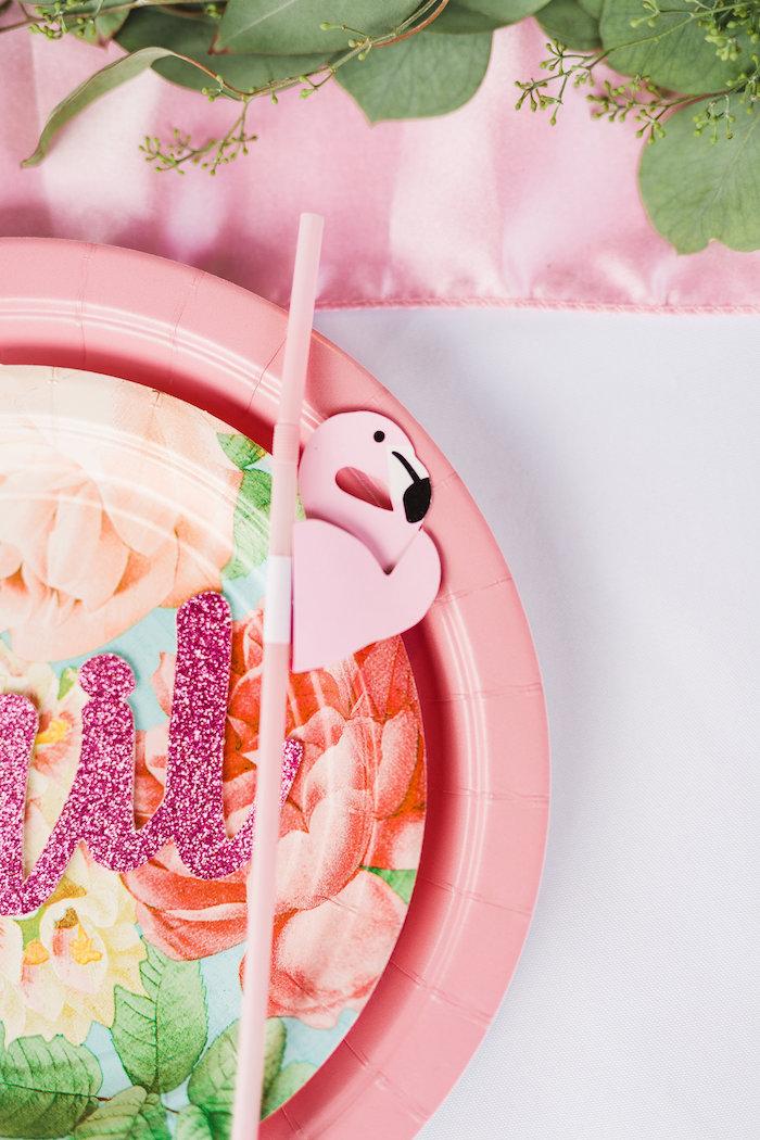 Flamingo straw from a Florals & Flamingos Birthday Party via Kara's Party Ideas KarasPartyIdeas.com (43)