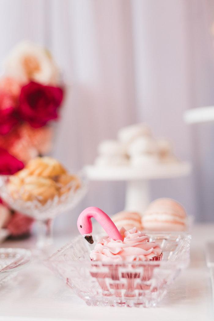 Flamingo cupcake from a Florals & Flamingos Birthday Party via Kara's Party Ideas KarasPartyIdeas.com (40)