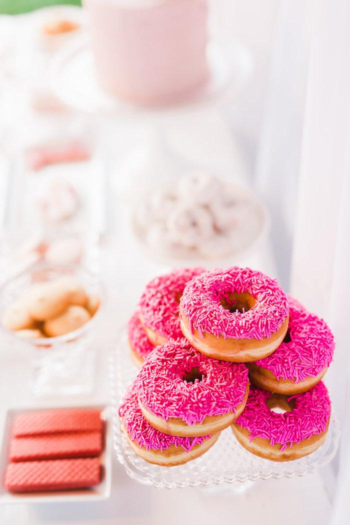 Pink sprinkled doughnuts from a Florals & Flamingos Birthday Party via Kara's Party Ideas KarasPartyIdeas.com (39)