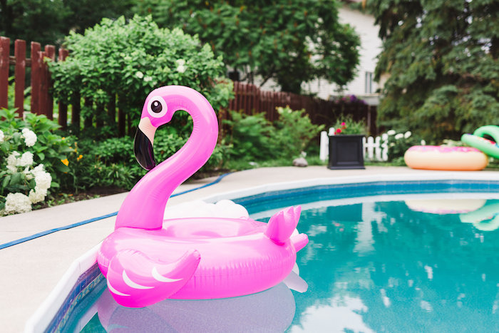 Flamingo floatie from a Florals & Flamingos Birthday Party via Kara's Party Ideas KarasPartyIdeas.com (56)