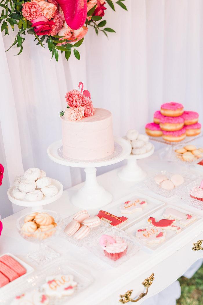 Sweet table detail from a Florals & Flamingos Birthday Party via Kara's Party Ideas KarasPartyIdeas.com (37)