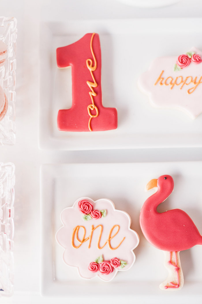 Cookies from a Florals & Flamingos Birthday Party via Kara's Party Ideas KarasPartyIdeas.com (34)