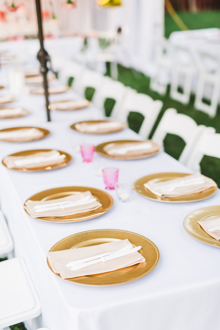 Dining tablescape from a Florals & Flamingos Birthday Party via Kara's Party Ideas KarasPartyIdeas.com (27)