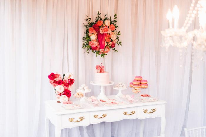 Dessert table from a Florals & Flamingos Birthday Party via Kara's Party Ideas KarasPartyIdeas.com (22)