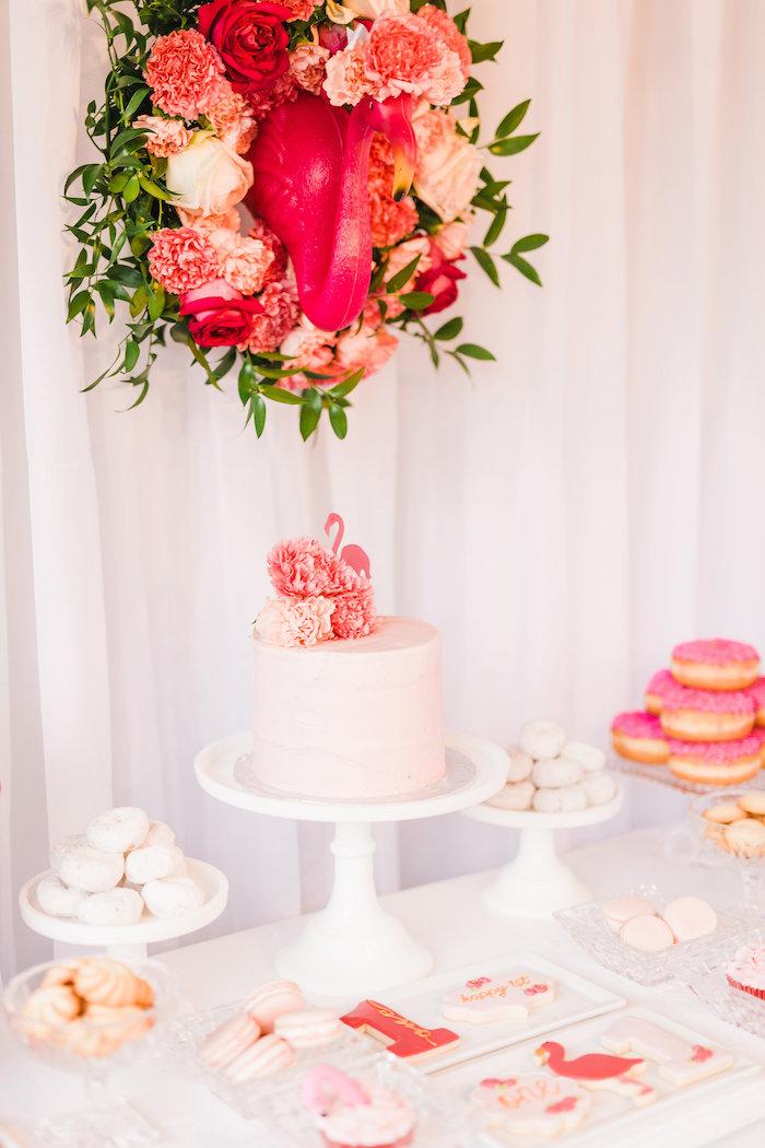 Cakescape from a Florals & Flamingos Birthday Party via Kara's Party Ideas KarasPartyIdeas.com (19)