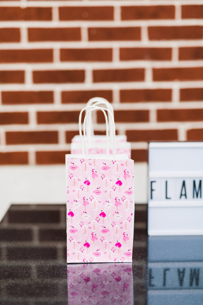 Flamingo favor bags from a Florals & Flamingos Birthday Party via Kara's Party Ideas KarasPartyIdeas.com (54)