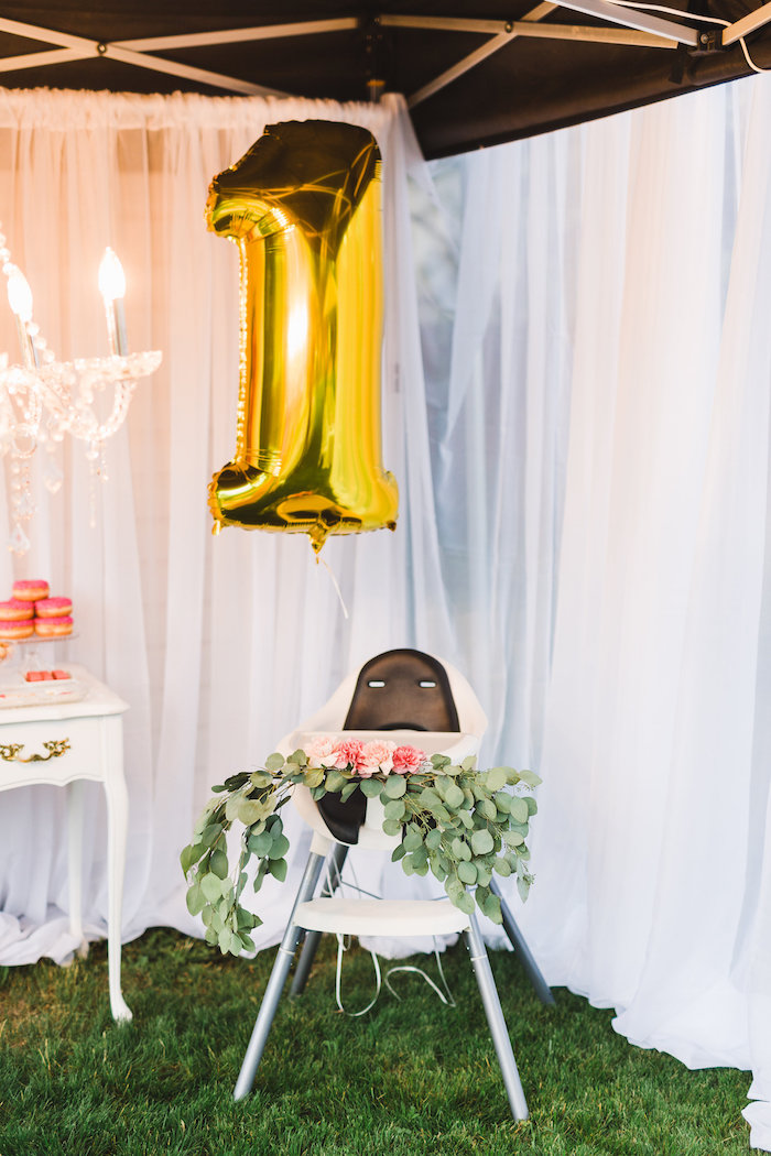 Highchair from a Florals & Flamingos Birthday Party via Kara's Party Ideas KarasPartyIdeas.com (17)