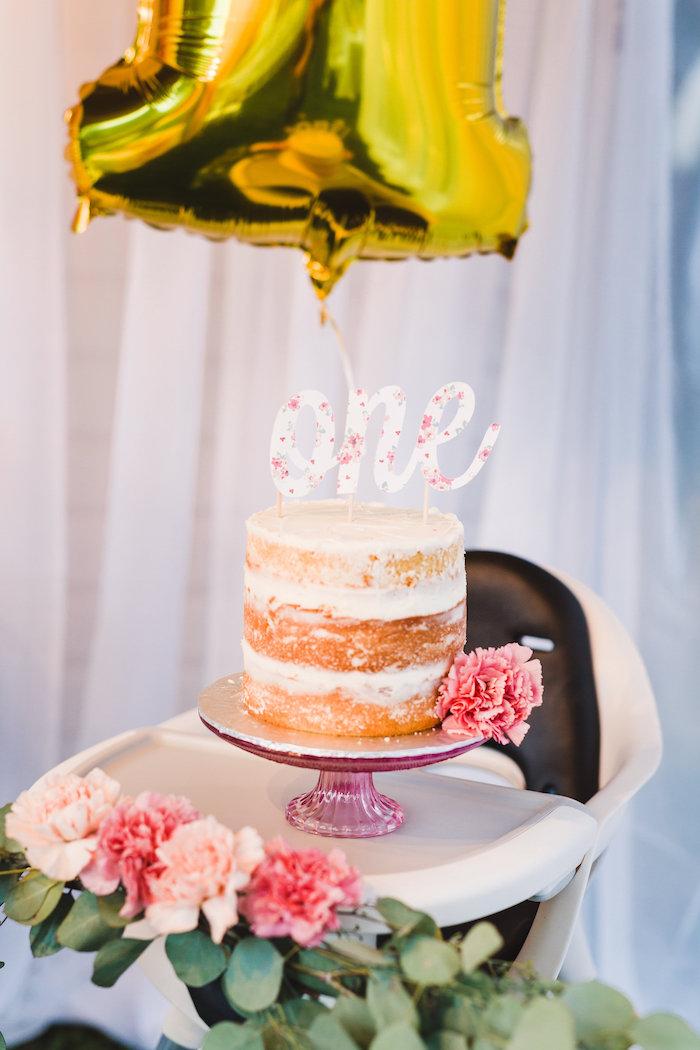 Naked smash cake from a Florals & Flamingos Birthday Party via Kara's Party Ideas KarasPartyIdeas.com (16)