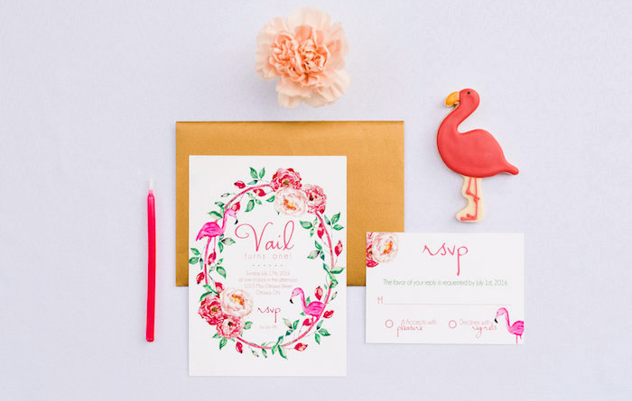 Invitation from a Florals & Flamingos Birthday Party via Kara's Party Ideas KarasPartyIdeas.com (51)