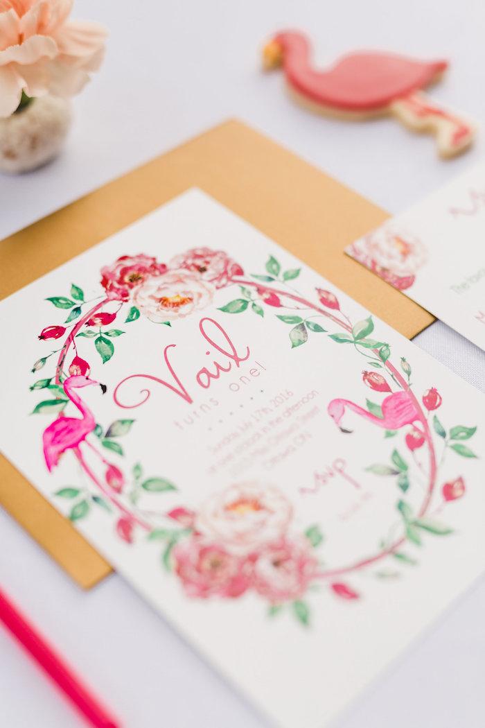 Invitation from a Florals & Flamingos Birthday Party via Kara's Party Ideas KarasPartyIdeas.com (50)