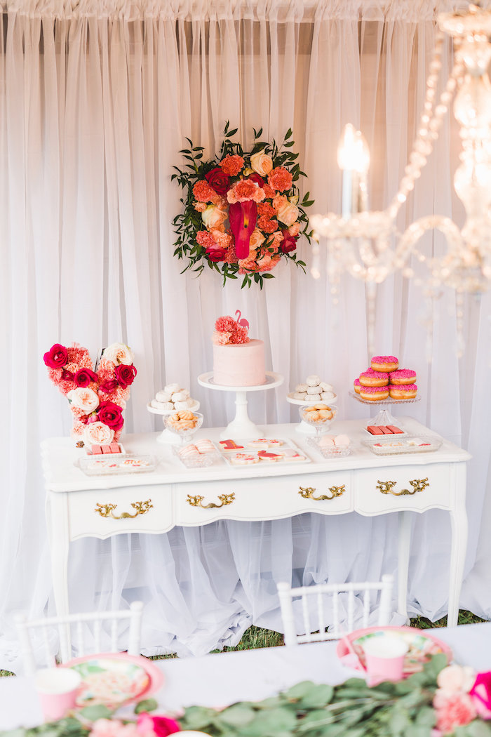 Dessert table from a Florals & Flamingos Birthday Party via Kara's Party Ideas KarasPartyIdeas.com (48)
