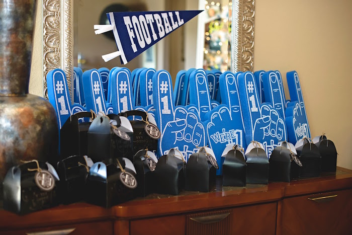 Foam fingers & game play favor boxes from a Football 1st Birthday Party via Kara's Party Ideas KarasPartyIdeas.com (36)