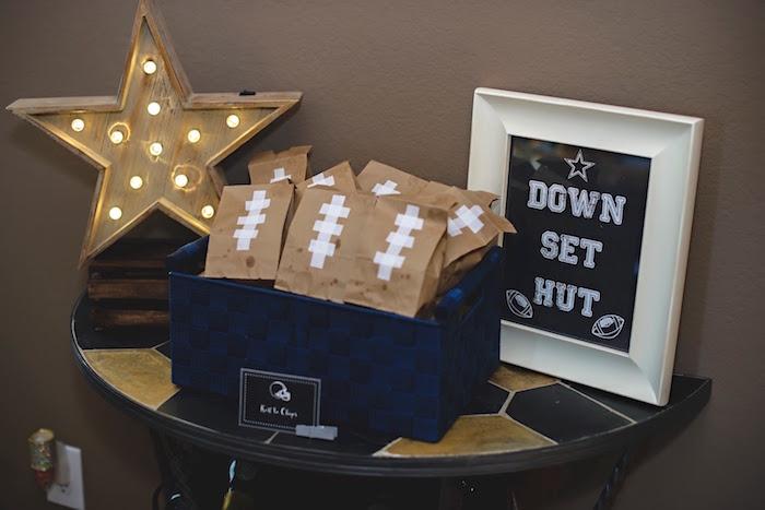 Football chip bags + decor from a Football 1st Birthday Party via Kara's Party Ideas KarasPartyIdeas.com (33)