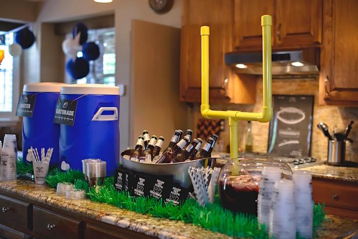 Drink station from a Football 1st Birthday Party via Kara's Party Ideas KarasPartyIdeas.com (47)