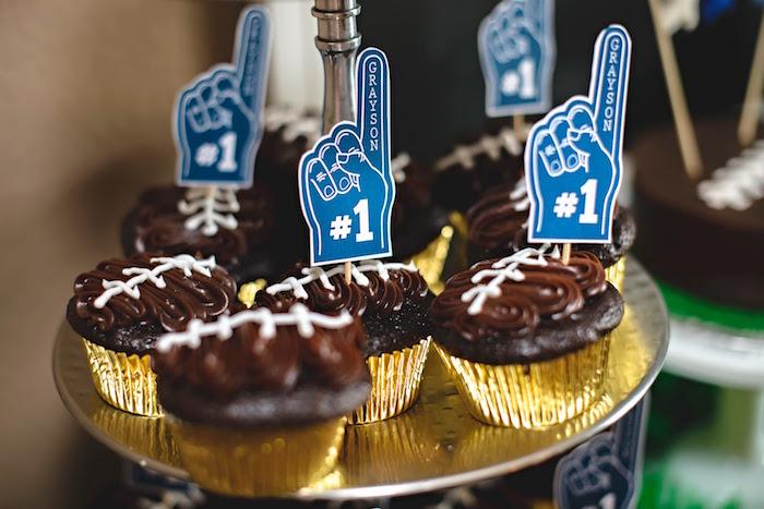 Football cupcakes from a Football 1st Birthday Party via Kara's Party Ideas KarasPartyIdeas.com (21)