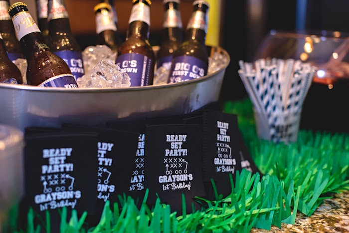 Drink bottles & Koozies from a Football 1st Birthday Party via Kara's Party Ideas KarasPartyIdeas.com (46)