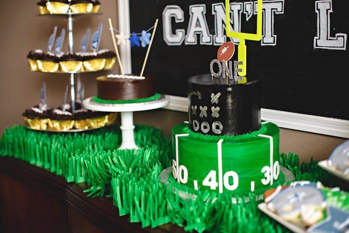 Cake table from a Football 1st Birthday Party via Kara's Party Ideas KarasPartyIdeas.com (18)