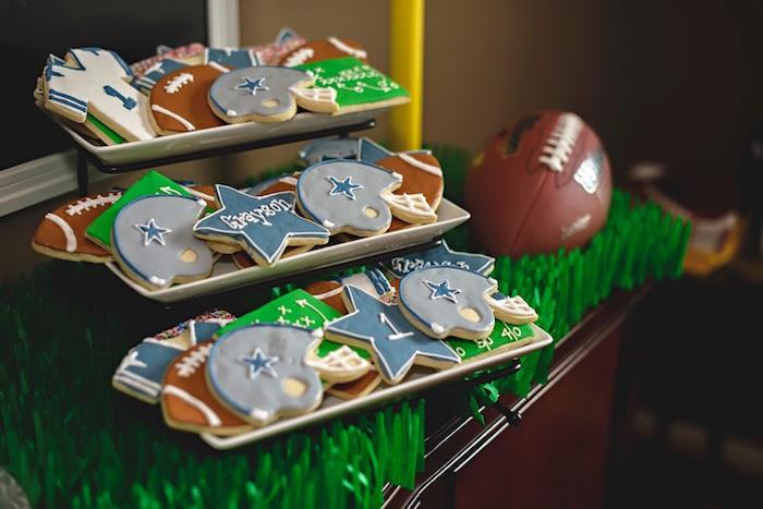 Football-inspired cookies from a Football 1st Birthday Party via Kara's Party Ideas KarasPartyIdeas.com (17)