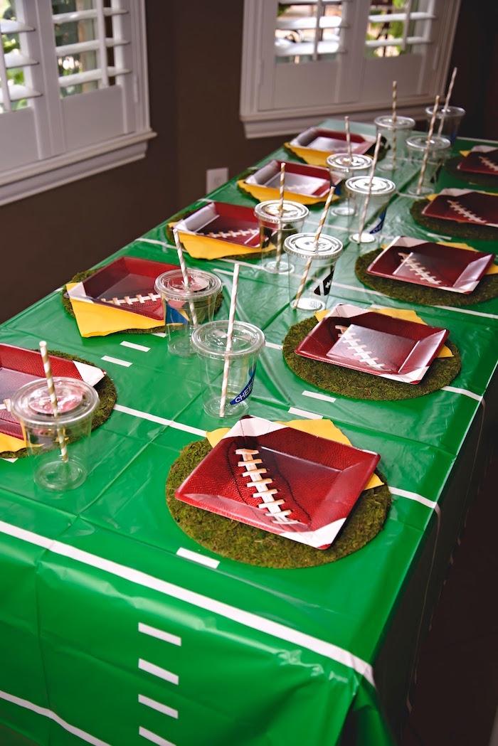 Football field party table from a Football 1st Birthday Party via Kara's Party Ideas KarasPartyIdeas.com (10)