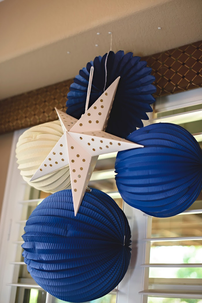 Hanging honeycomb decorations & star from a Football 1st Birthday Party via Kara's Party Ideas KarasPartyIdeas.com (44)