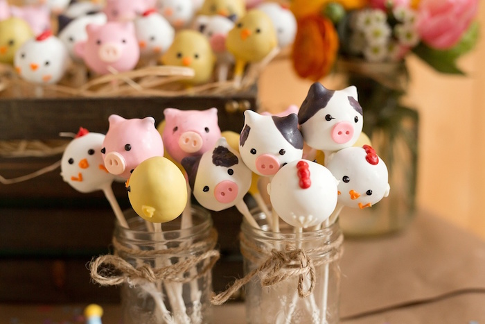 Farm animal cake pops from a Glamorous Barnyard Birthday Bash via Kara's Party Ideas | KarasPartyIdeas.com (31)