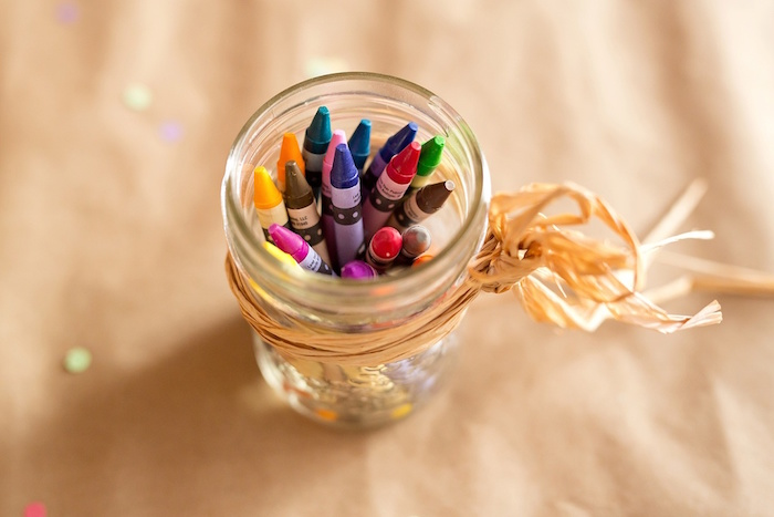 Crayons placed in a canning jar from a Glamorous Barnyard Birthday Bash via Kara's Party Ideas | KarasPartyIdeas.com (27)