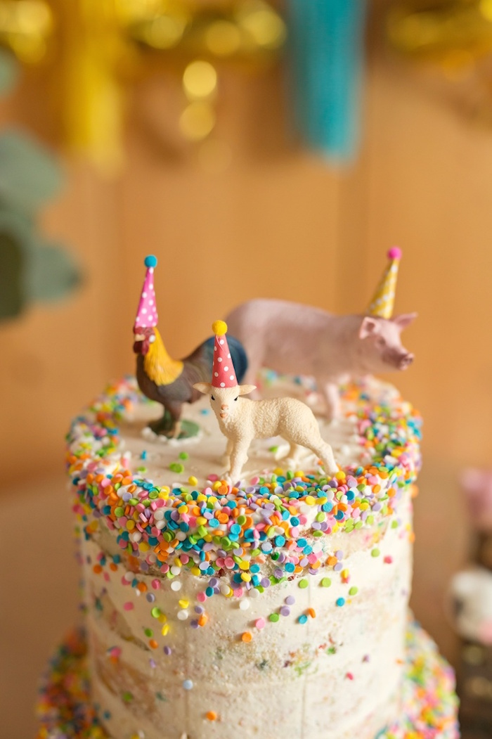 Baryard animal cake from a Glamorous Barnyard Birthday Bash via Kara's Party Ideas | KarasPartyIdeas.com (25)