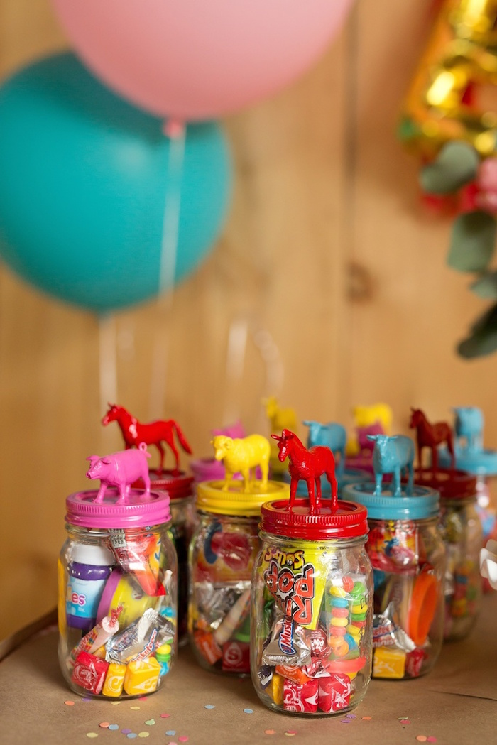 Barnyard animal favor jars from a Glamorous Barnyard Birthday Bash via Kara's Party Ideas | KarasPartyIdeas.com (23)