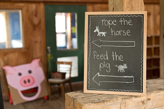 Chalkboard game sign from a Glamorous Barnyard Birthday Bash via Kara's Party Ideas | KarasPartyIdeas.com (20)