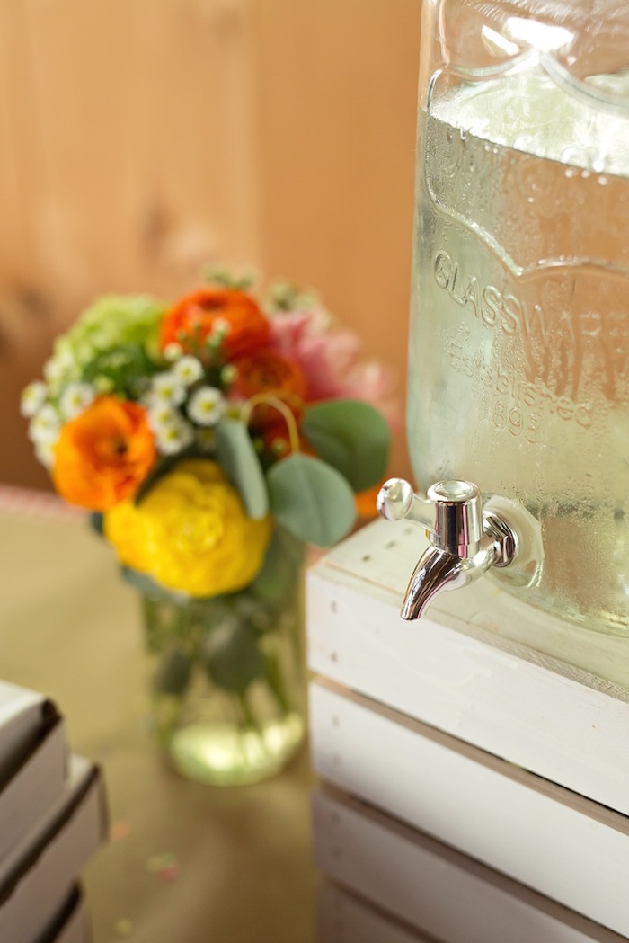 Beverage dispenser from a Glamorous Barnyard Birthday Bash via Kara's Party Ideas | KarasPartyIdeas.com (15)