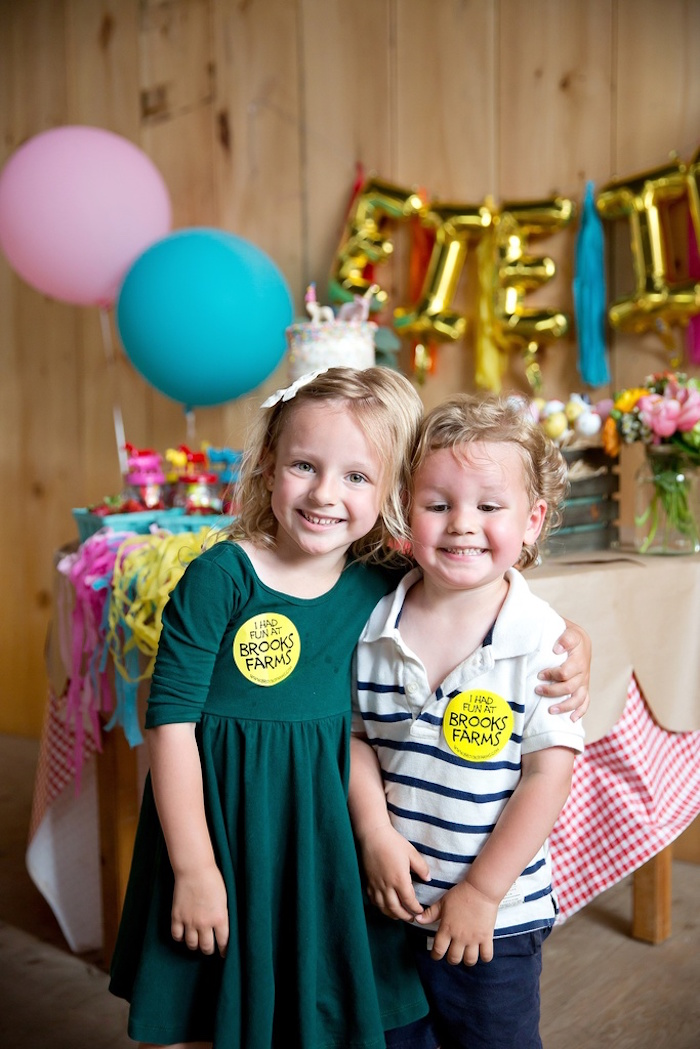 Kids with birthday smiles at their Glamorous Barnyard Birthday Bash via Kara's Party Ideas | KarasPartyIdeas.com (12)