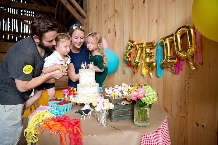 Birthday boy & girl blowing out their birthday candles from a Glamorous Barnyard Birthday Bash via Kara's Party Ideas | KarasPartyIdeas.com (11)