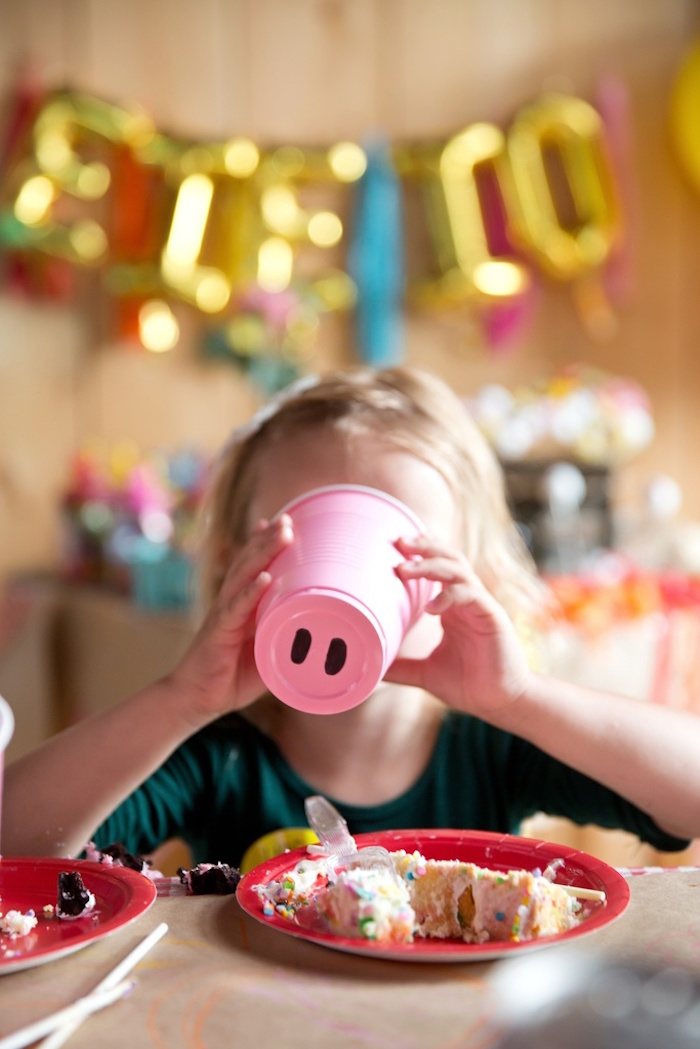 Pig nose cup from a Glamorous Barnyard Birthday Bash via Kara's Party Ideas | KarasPartyIdeas.com (10)