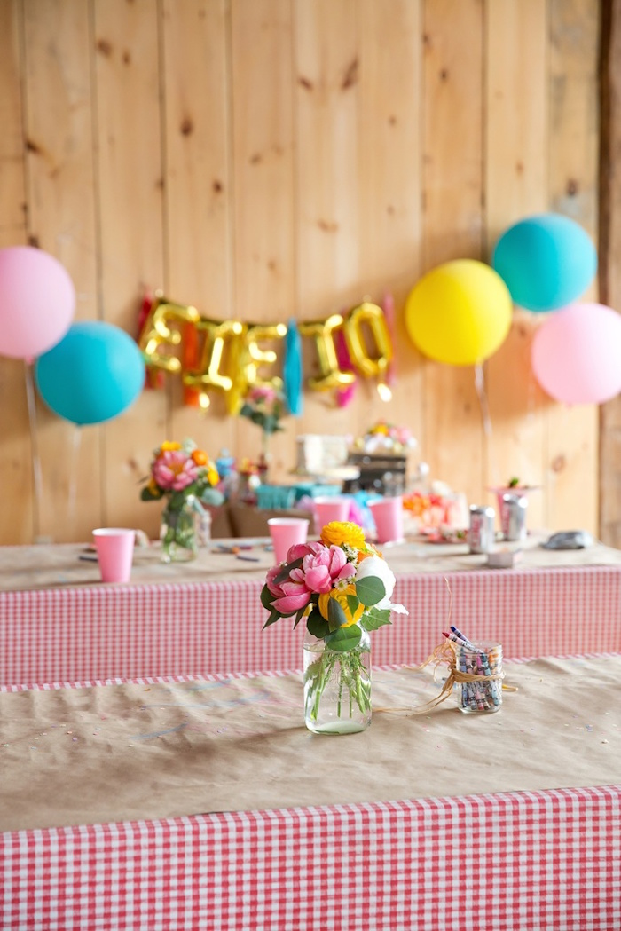 Party tables from a Glamorous Barnyard Birthday Bash via Kara's Party Ideas | KarasPartyIdeas.com (8)