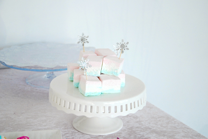 Marshmallow squares from a Glam Frozen Themed Birthday Party via Kara's Party Ideas KarasPartyIdeas.com (11)