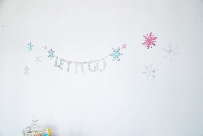 Let It Go banner + bunting from a Glam Frozen Themed Birthday Party via Kara's Party Ideas KarasPartyIdeas.com (8)